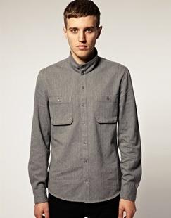 男士立领双口袋灰色长袖衬衫