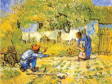 Baby early education draw charts prenatal education posters of world famous paintings adornment van gogh painting painting core learning to walk for the first time