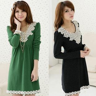 Женское платье И 2012 размер новой весны и осени и зимы горошек бисером платья, высокой талией корейской версии тонкий леди 1618 Зима 2012 Парча