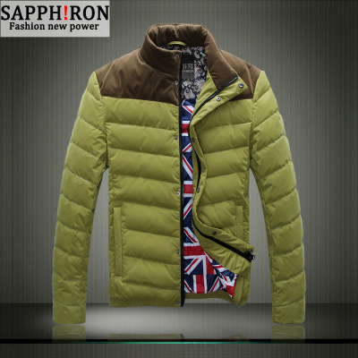 SAPHIRON men winter coat collar jacket thin Slim Korean men short down jacket outdoor tide