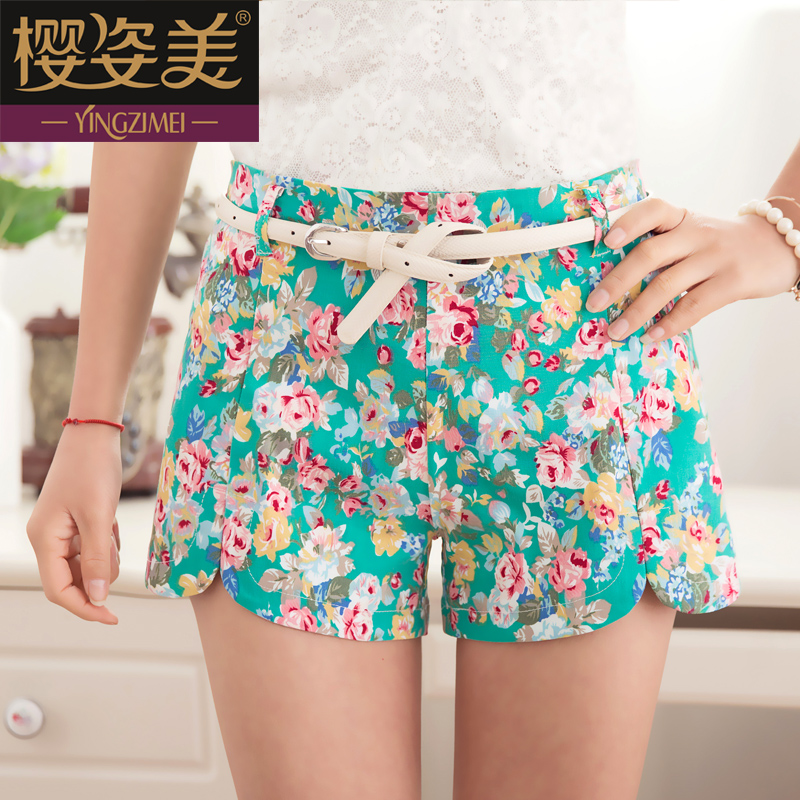 2014-leisure loose summer dress new Korean hot pants printed sport elastic high waist floral