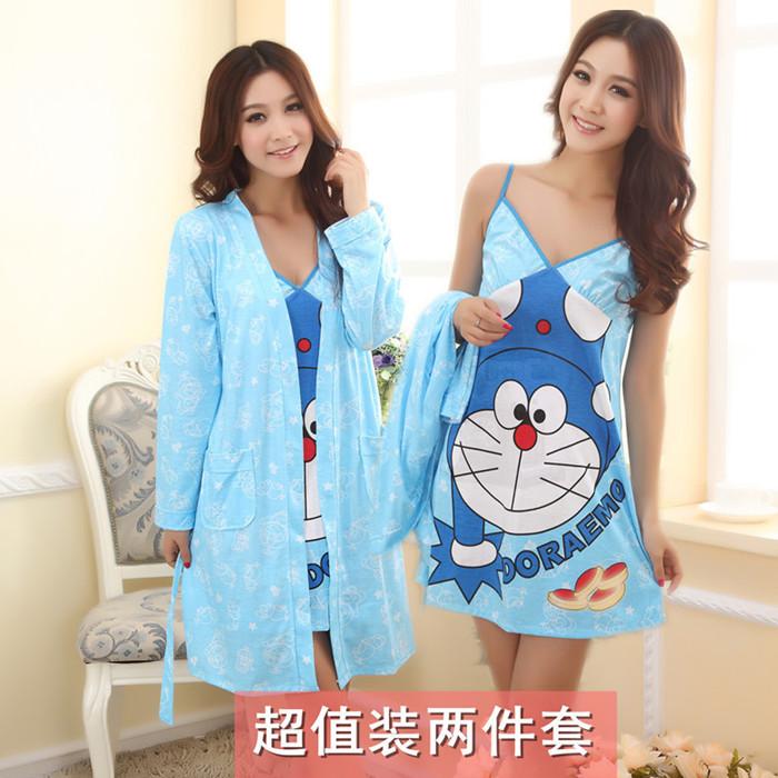 Халат Чистый хлопок весна лето милый мультфильм кошка спокойной платье Халат два костюма Pack штамп