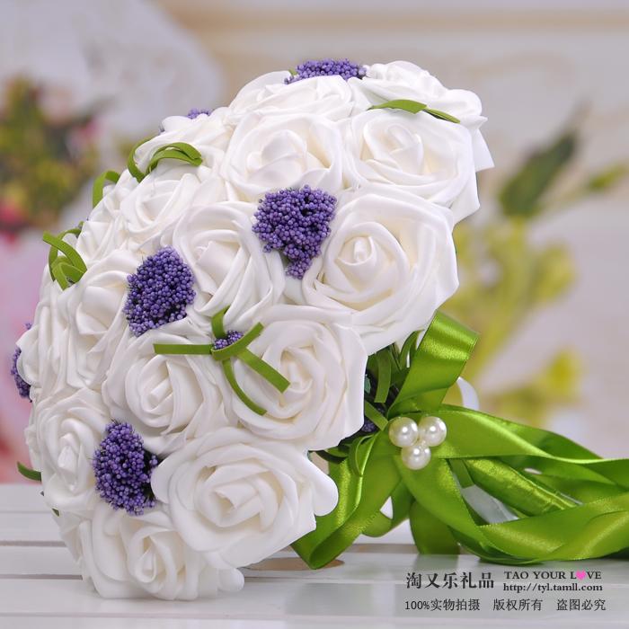 淘又乐韩式新娘手捧花 30朵婚庆结婚婚礼白色绣球花 送手腕花包邮