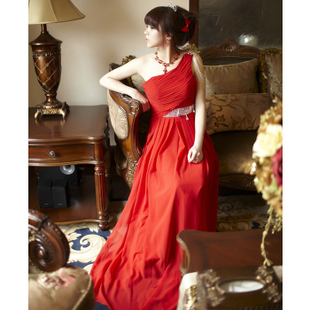 Luxurious 2012 new style bride MaxMara one shoulder wedding dress bridal toast MaxMara skinny thin
