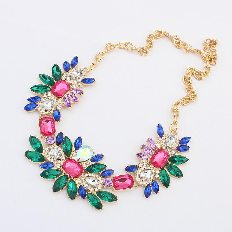 Новый 2014 моды имитация драгоценных камней ожерелье красочные ожерелья подвески цепь для женщин.