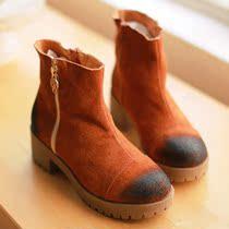 欧美英伦复古高帮真牛皮马丁靴短靴加绒女靴个性潮流女鞋秋冬新品