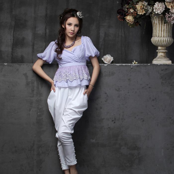 женская рубашка Youmai A1506 2012 Оригинальный дизайн Короткий рукав Однотонный цвет Лето 2012 Кружево V-образный вырез Молния