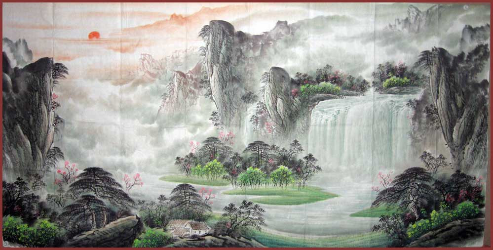 【鸿韵堂】中国画山水画客厅★胡林梦★八尺山水画 聚宝盆a图片