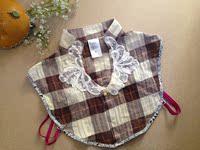 2件包邮韩国女衬衫假领子甜美蕾丝勾花珍珠配饰V领衬衫复古假衣领