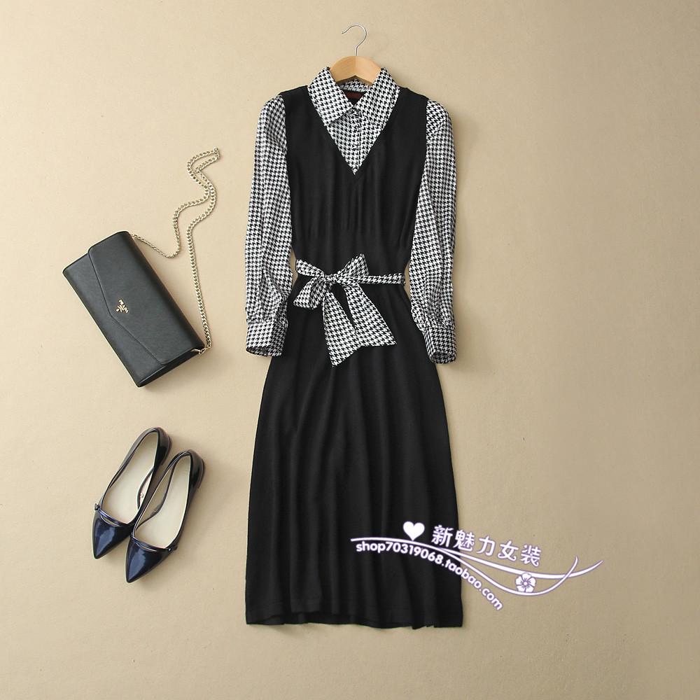 搬家清仓包邮 真丝羊毛羊绒大码 千鸟格长裙长袖女显瘦秋连衣裙