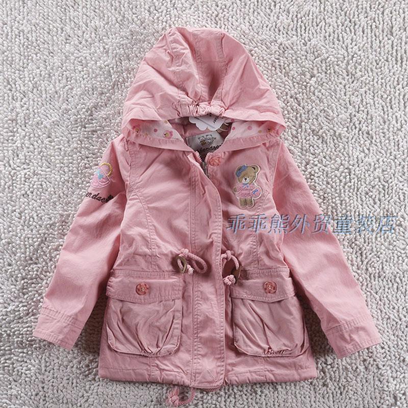 детское пальто 2014 Весна новые дети, которую корейский медведя лапы девушки хлопок с капюшоном длинный шнурок пальто ветровка в