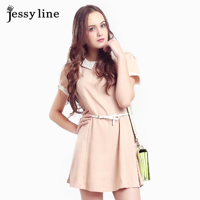 jessy line夏装新款2014 女士雪纺短袖连衣裙 蕾丝拼接打底裙子