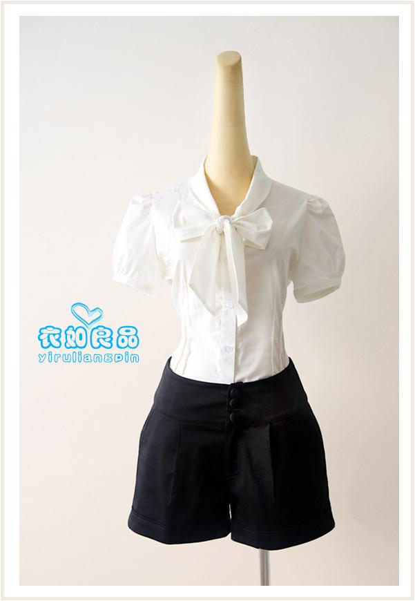 женская рубашка Повседневный Короткий рукав Однотонный цвет Бантик бабочкой