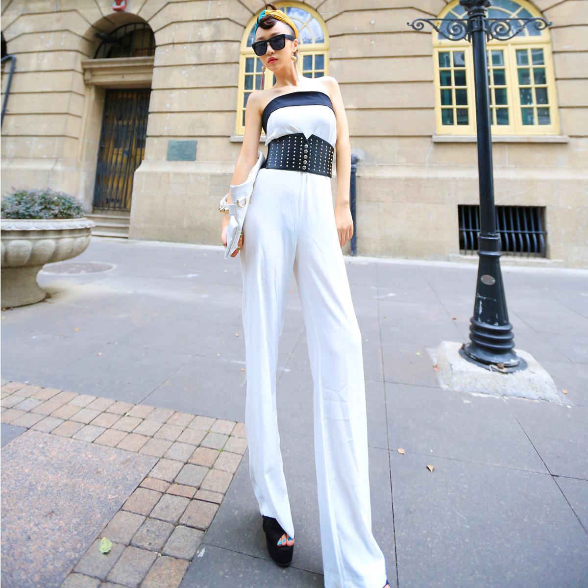 Женские брюки Европейский громкое имя дизайн супер темпераментом, тонкая трубка Топ широкий ноги цельный ремень талии Костюм
