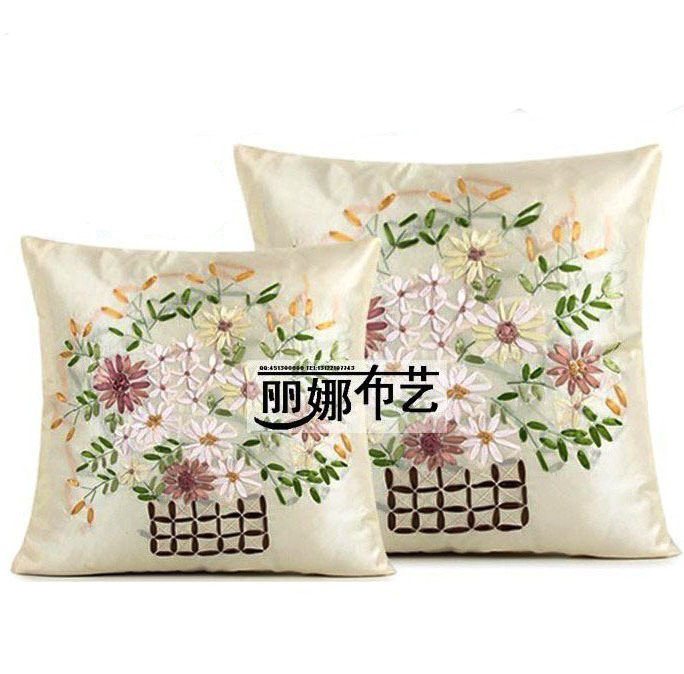 Creative finished ribbon embroidery pillow bed backrest