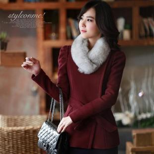New 2012 winter wine red slim Barret coat women jacket coat-Korean version