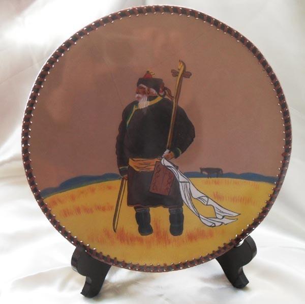 蒙古族 纯手工缝制皮画 父亲的马头琴 工艺皮雕画图片