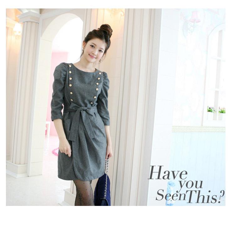 Женское платье женщин 2012 Весна новый Корейский моды шерсти платье тонкий тонкий шерсти платье