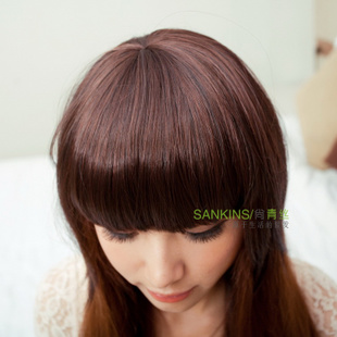 Cute girls black hair wigs leading top fashion temples qiliuhaikasi fringe