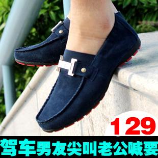 Демисезонные ботинки K007 007 Мокасины Для отдыха Двухслойная натуральная кожа Плоский носок Без шнуровки Весна и осень