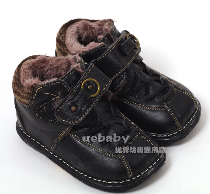 Детская кожаная обувь 优翼坊/新款 儿童皮鞋 婴儿防滑学步鞋 保暖童鞋 黑色 Для молодых мужчин, Унисекс