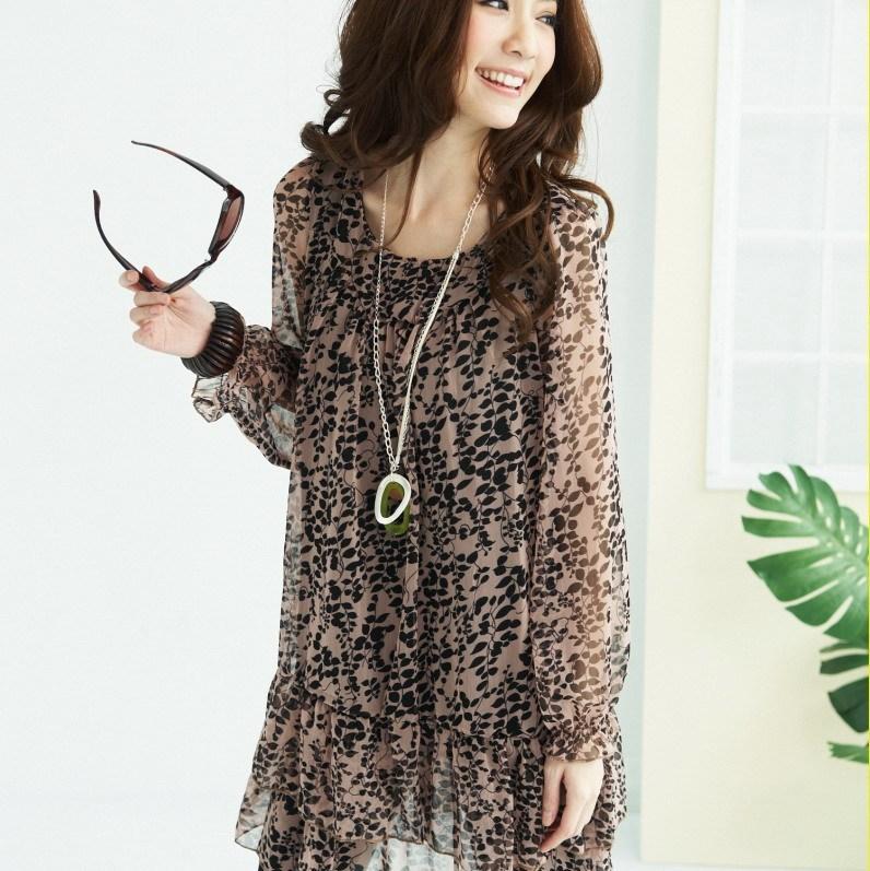 Блузка 2012 плюс размер женщин весной и летом новых новых малых цветочные шифона платье длинный рукав долго шифона рубашку продажа