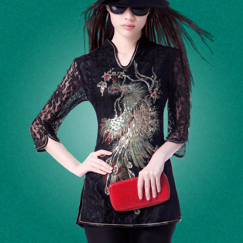 Say Phoenix modified Tang suit Yue embroidery jacket ladies summer lace national wind Chinese clothing qipao tops