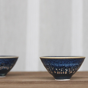 高温蓝色釉窑变功夫茶杯