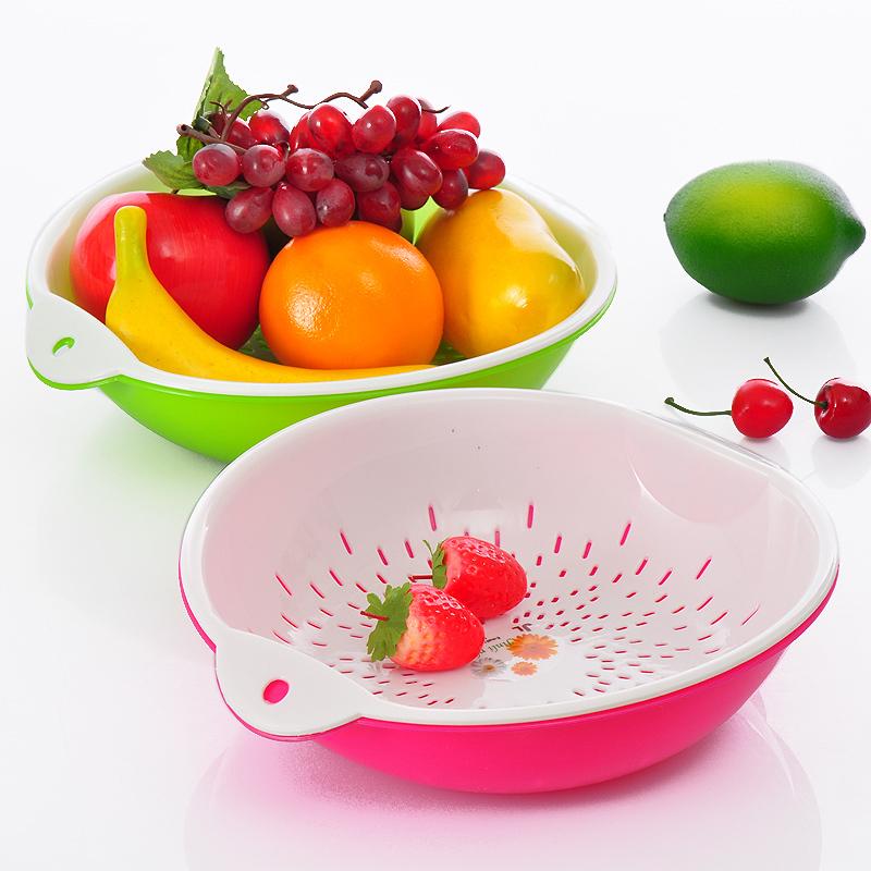 三金冠  居家日用品双层滴水箩蔬菜水果篮果盘沥水篮D865