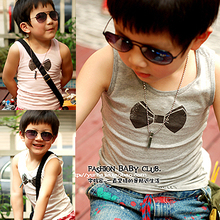 Tong yao foreign trade, single boy baby girls children DD original bow cotton vest singlet
