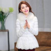 2013冬季新款韩版棉袄 蕾丝拼接棉衣外套 女修身短款棉服羽绒服