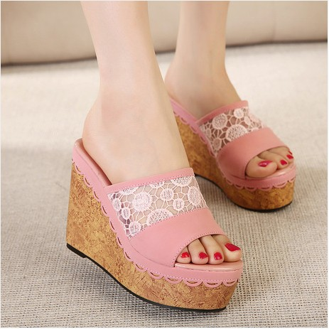 2015 summer new Korean high-heeled shoes, sandals and slippers slope with muffin with sweet lace shoes slippers word