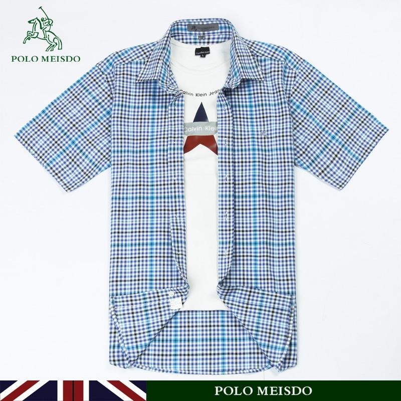 Рубашка мужская Polomeisdo Лето 2012 Ткань с цветными полосками Квадратный воротник Короткие рукава (длина рукава <35см)