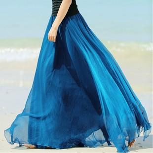 2014夏季新款荷叶边半身裙沙滩裙8米大摆雪纺长裙透气淑女仙女群