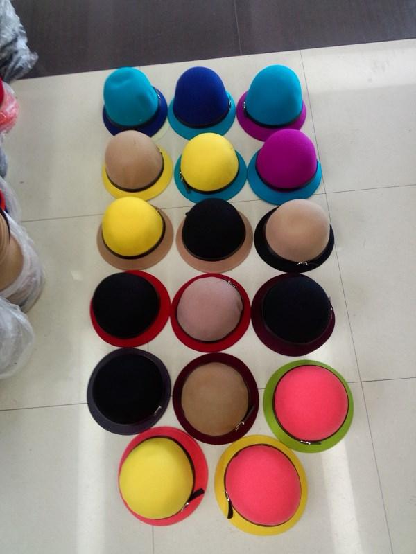 Головной убор Чистая шерсть цветовой контраст цвета кожа пряжкой шляпе женщин осень зима ведро Hat Рыбак Hat элегантный аристократ