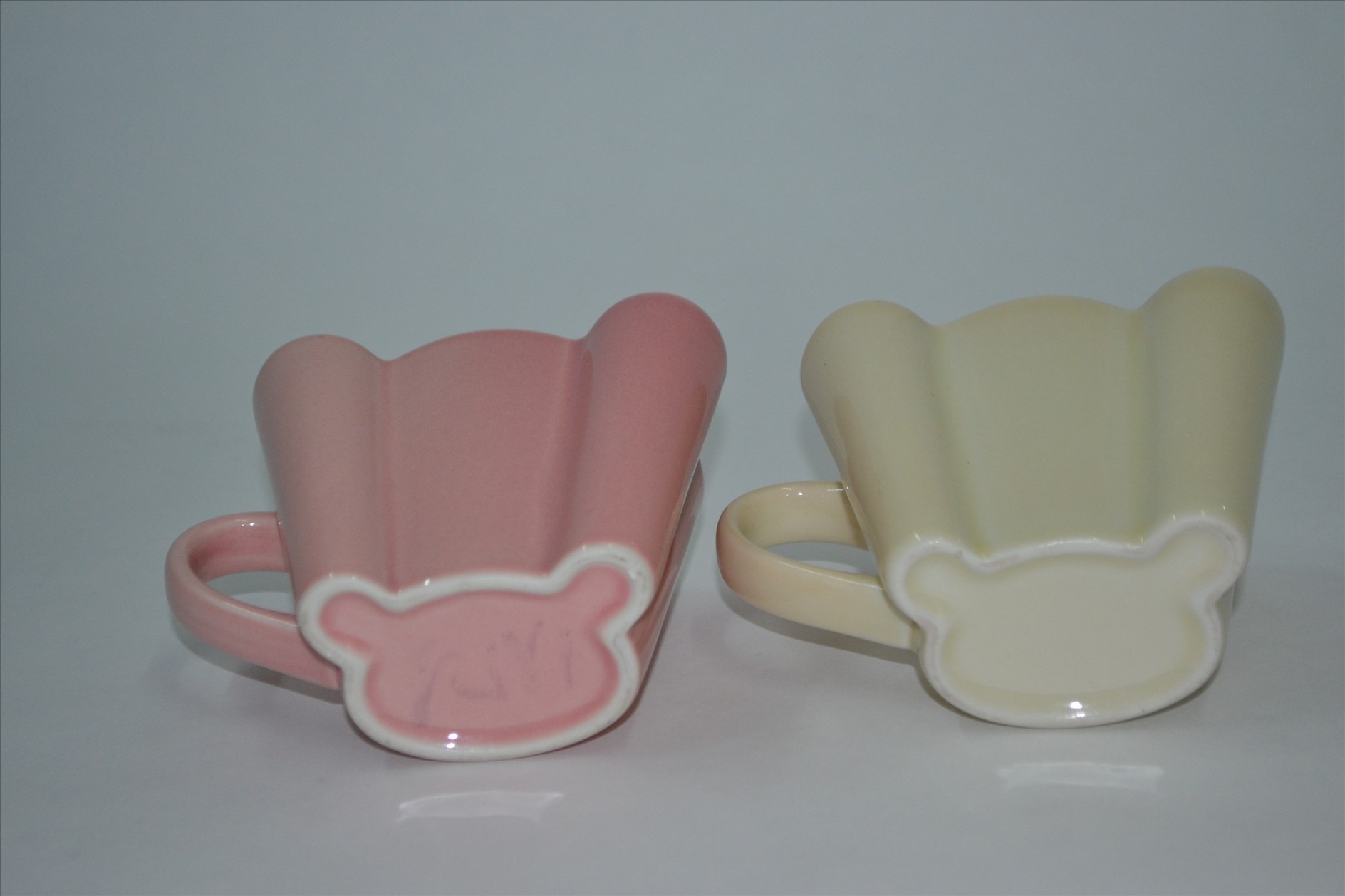 小熊情侣对杯 可爱粉色 温馨黄色 陶瓷 早餐杯 奶杯 咖啡杯
