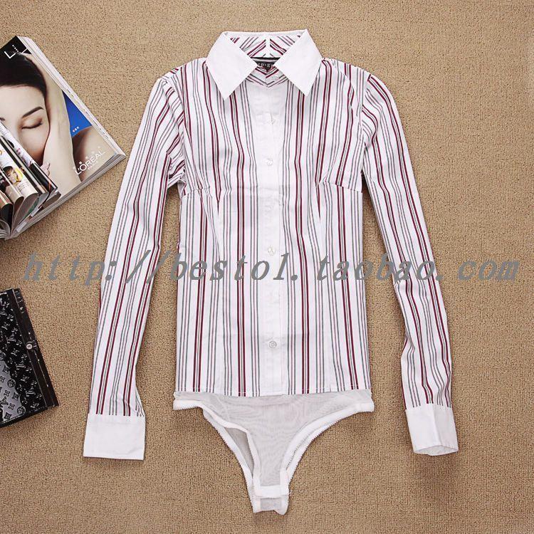 женская рубашка 1020 OL Повседневный Длинный рукав В полоску Отложной воротник Один ряд пуговиц