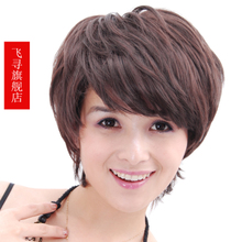 Fly to find brand wigs inclined fringe wig brown short hair handsome women fashion short fluffy wig