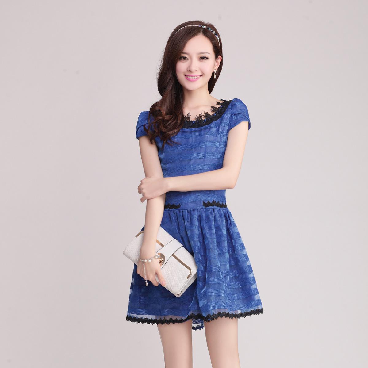 2014夏装韩版新款气质淑女欧根纱连衣裙性感修身条纹短袖连衣裙