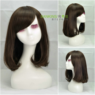 First ladies wig long black hair flower fluffy temperament inclined girls long PEAR volume fringe wig