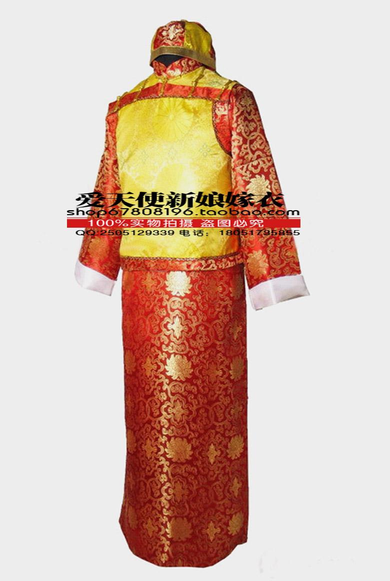 古装地主服清朝阿哥贝勒服装表演服红与金主题服装男演出服送帽子