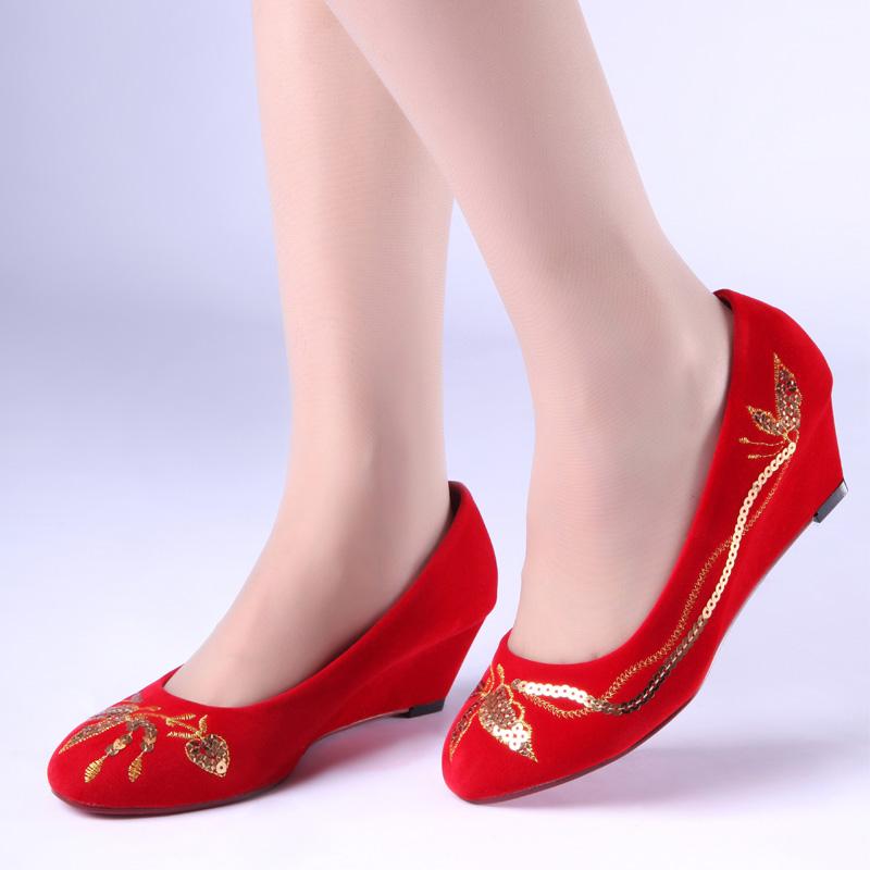结婚红色坡跟鞋金色亮片绣花漂亮婚鞋新娘鞋子敬酒鞋礼服鞋批发