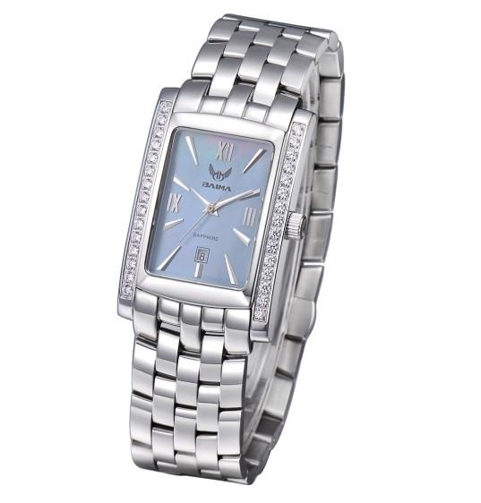 佰玛表正品方形手表防水蓝宝石表镜男士手表水钻腕表瑞士珠贝字面