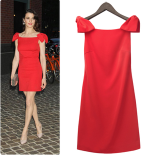 2012 new red dress dress HuKeTong day television gala of bowknot temperament cultivate one's morality dress