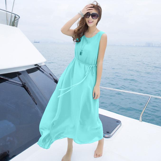 Приморский богемной пляж платье мята Зеленая юбка жира мм тонкий пляж юбка платье