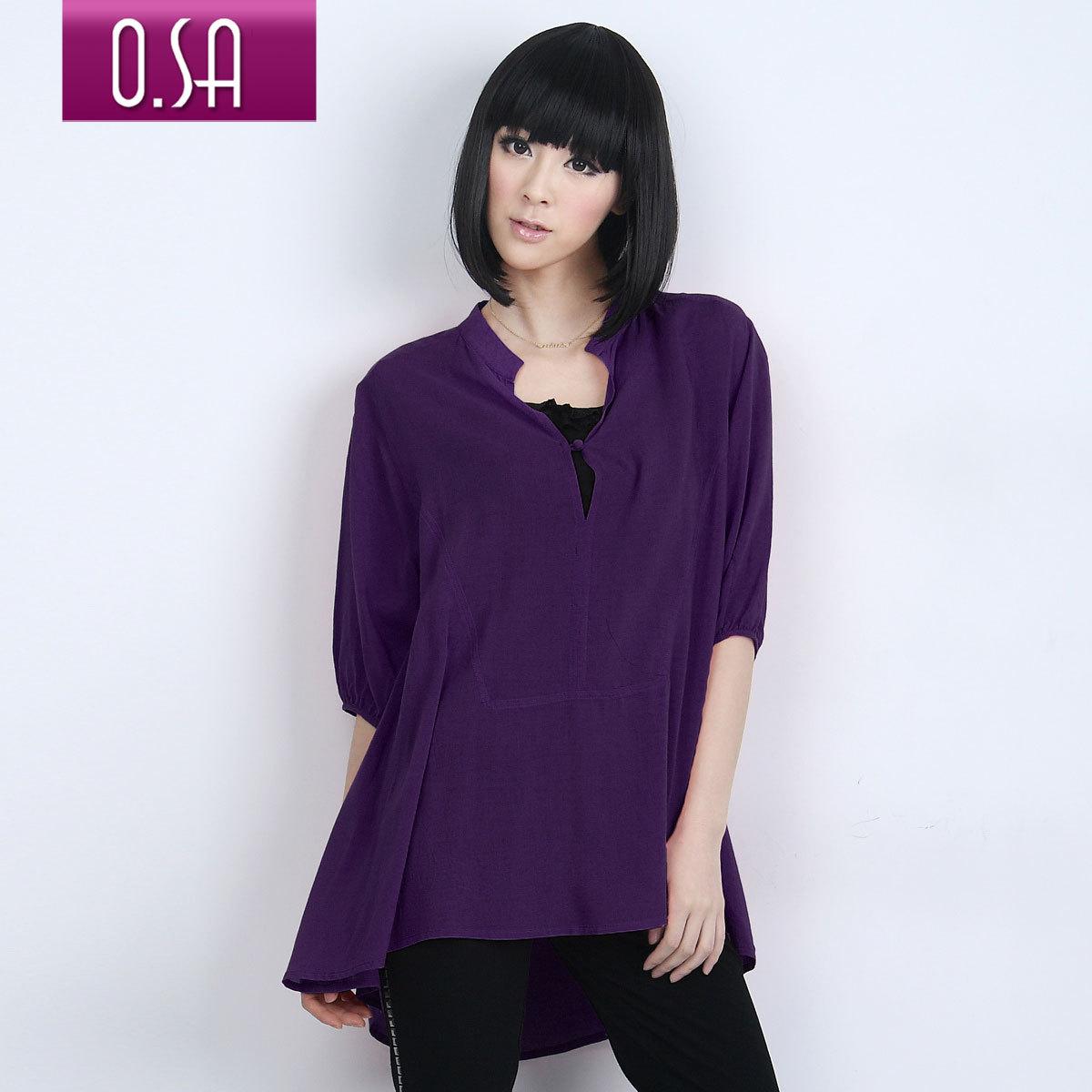 женская рубашка OSA sc00203 2011 C00203 Повседневный Однотонный цвет Бантик бабочкой Воротник-стойка