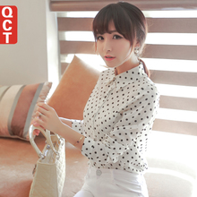 QCT S132 2014 Spring White Chiffon Shirt Blouse Long Sleeves Korean Leisure Women's Shirts At the End of