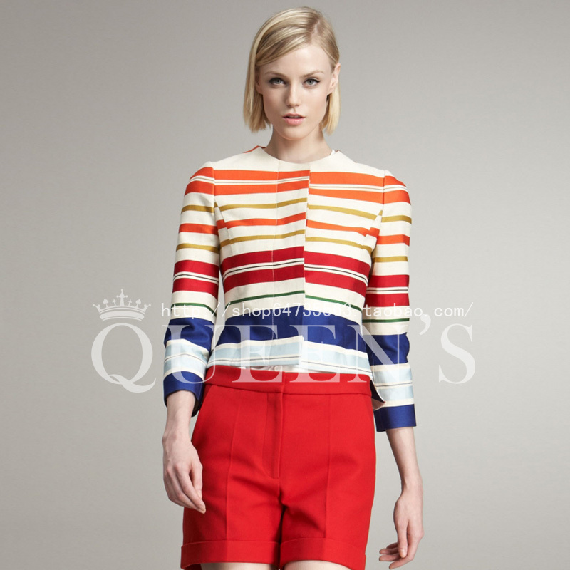 2012 early autumn new hit color printing round neck long-sleeved striped short jacket female