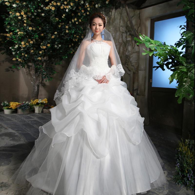 2013新款 新娘婚纱礼服时尚韩版公主 抹胸经典齐地韩式显瘦款1301