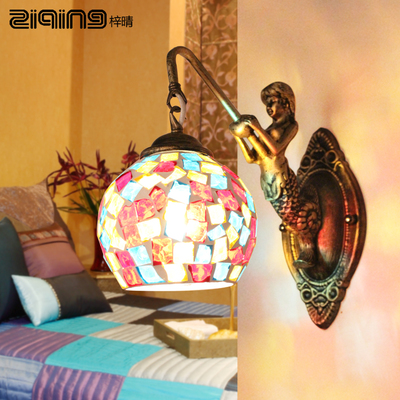 European pastoral Mediterranean Mosaic Bar bedroom bedside lamp wall lamp Children mermaid mirror front lamps 901